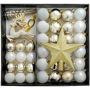 Weihnachtsbaum Silber Weiß.Werchristmas Bruchsichere Luxus Weihnachtsbaum Kugeln Plastik Silber Weiß 50 Piece