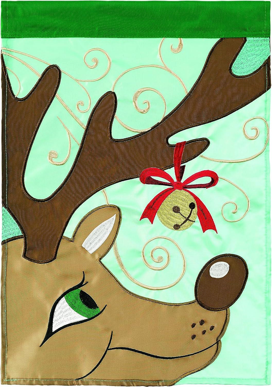Carson Home Accents Reindeer Trends Single Applique Garden Flag