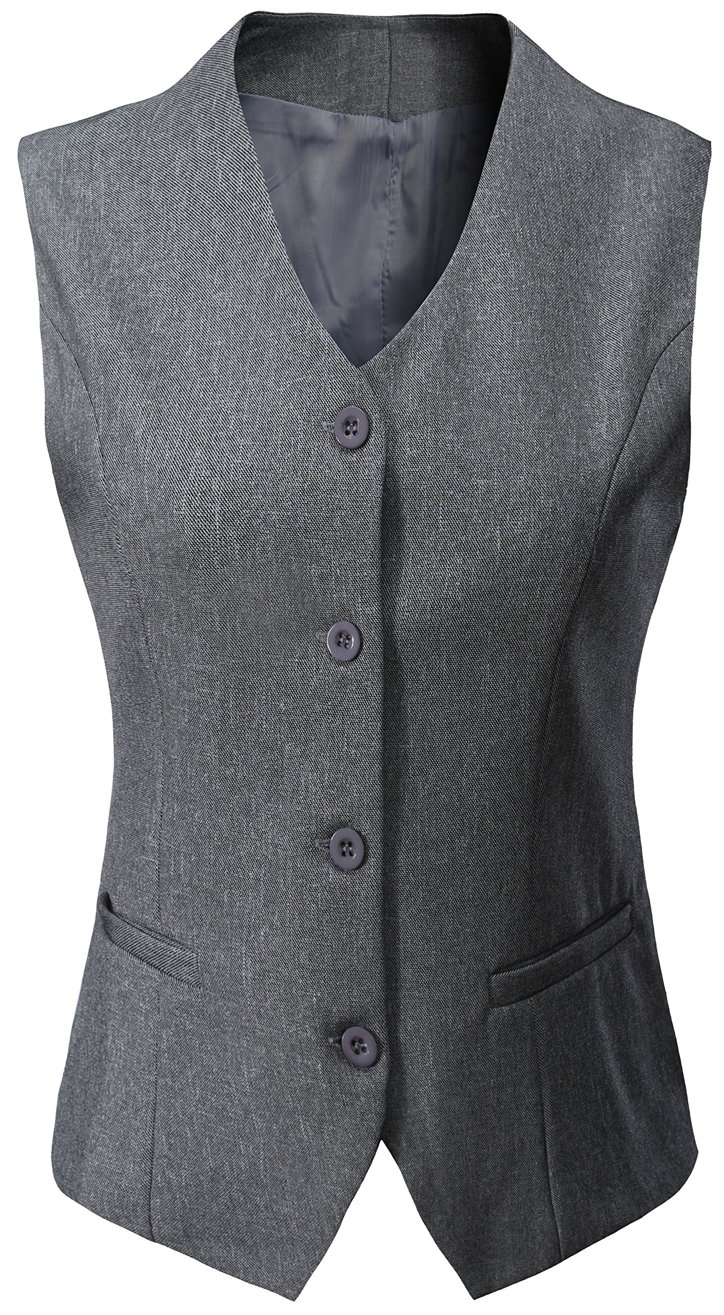 Vocni Women's Fully Lined 4 Button V-Neck Economy Dressy Suit Vest Waistcoat,Light Gray,US M/Asia 3XL