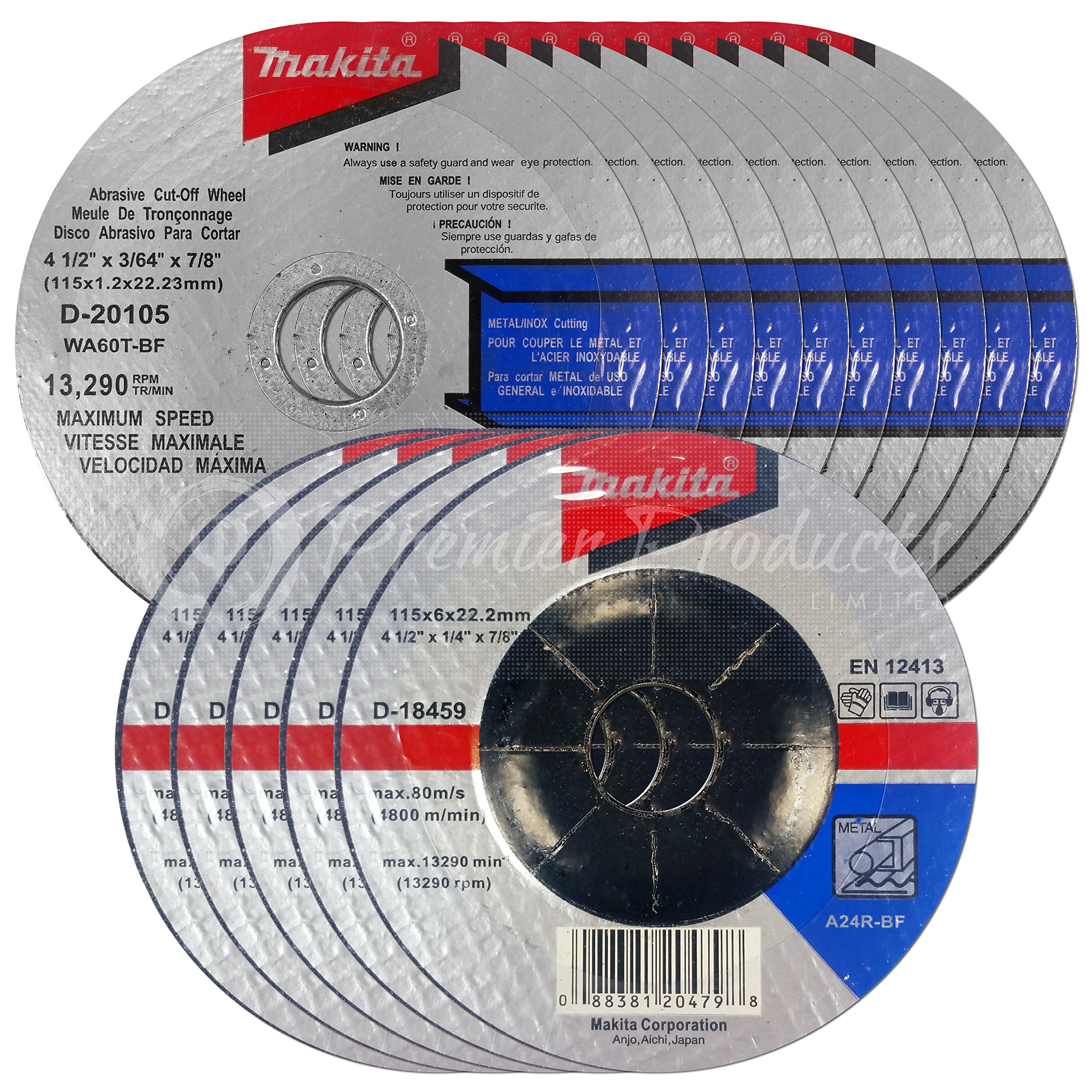 Makita 15 Piece - 4 1 2 Grinding & Cutting Wheel Set For Grinders - Aggressive Grind & Cut For Metal - 4-1/2'' x 7/8-Inch