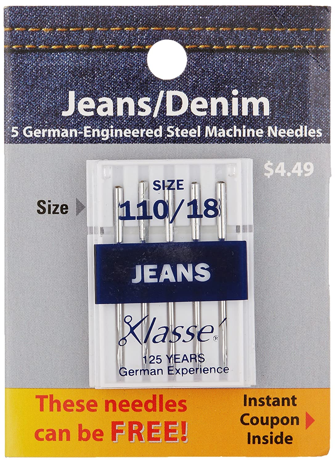 Tacony Corporation Klasse Jeans/Denim Machine Needles, 110/18 5-Pack Notions - In Network A5103-11018