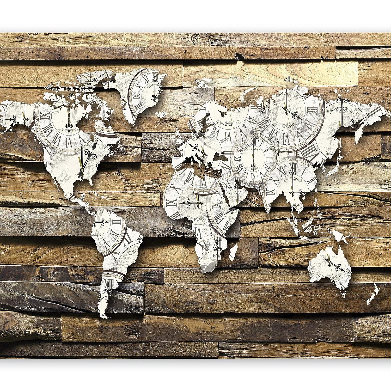 Murando - Fototapete 400x280 cm - Vlies Tapete - Moderne Wanddeko - Design Tapete - Wandtapete - Wand Dekoration - Holz Weltkarte k-A-0028-a-d