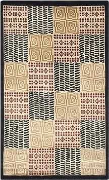 Amazon Com Safavieh Tibetan Collection Tb339a Hand Knotted Modern Premium Silk Wool Area Rug 4 X 6 Black Rust Furniture Decor