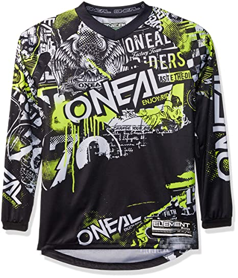 2ae85a9fd Image Unavailable. Image not available for. Color  O Neal Unisex-Adult Element  Attack Jersey Black Hi-Viz Youth Large