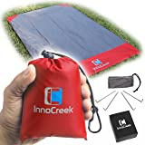 Waterproof Pocket Blanket / Picnic Blanket, Sand Proof Beach Blanket - Large 75'' x 48'' with 4 Stakes / Anchors - Lightweight Compact Portable Outdoor Mat Ground Sheet Tarp for Camping or Travel