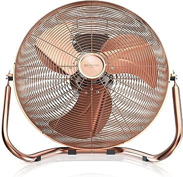 45 cm de diam/ètre High Medium cuivre t/ête du Ventilateur r/églable m/étal Solide d/ébit dair /élev/é Brandson 120 W Ventilateur en Design r/étro Trois Vitesses Low