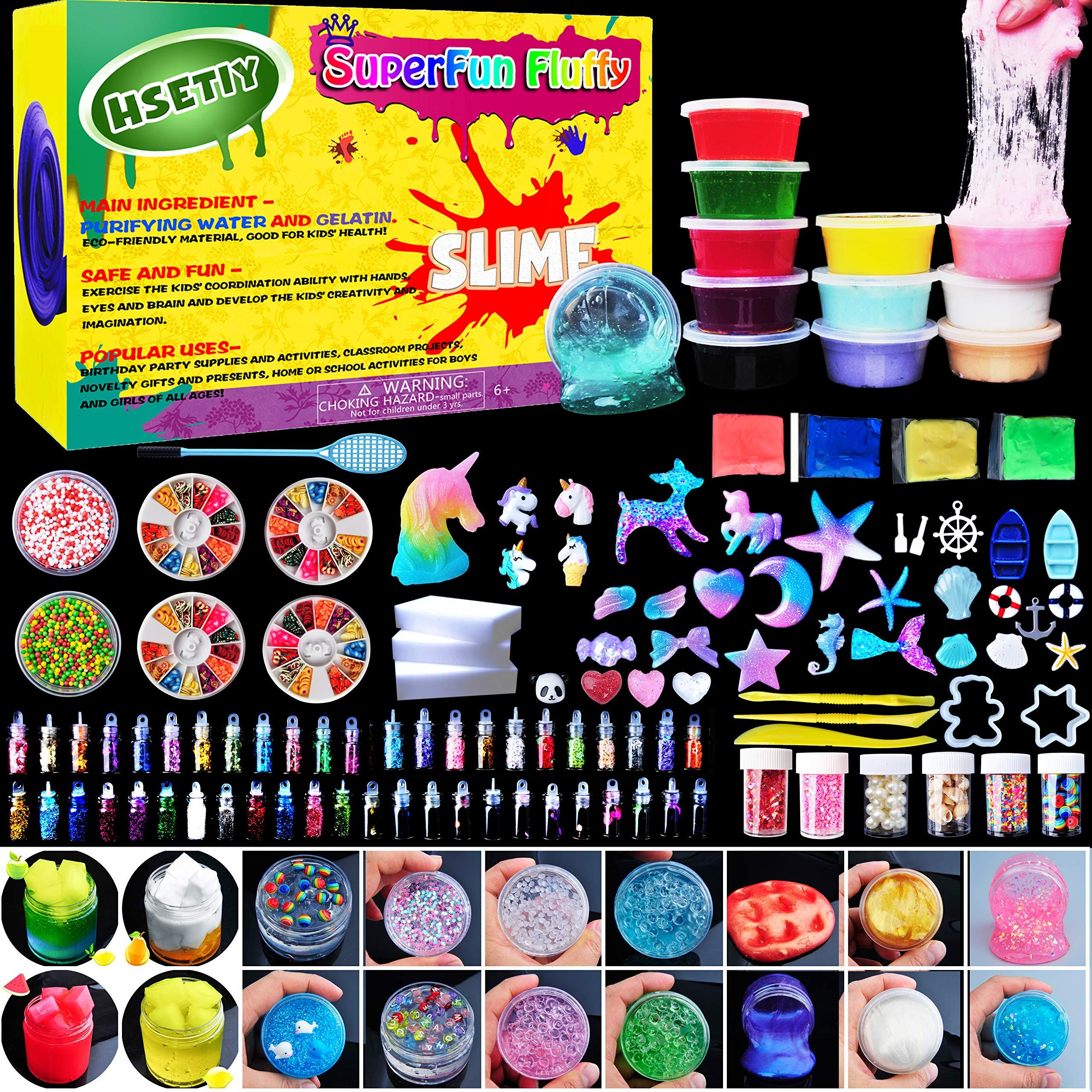 HSETIY Unicorn DIY Slime kit Supplies-6 Cloud Slime,6 Clear Slime,3 Jelly Cube,5 Unicorn,55 Glitter,4 Magic Clay with DIY Slime Tool and Slime Box