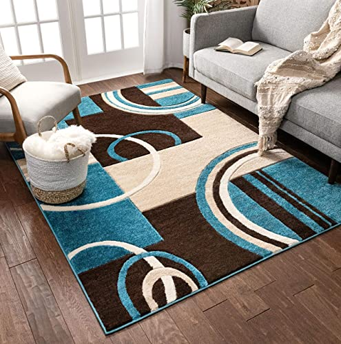 Echo Shapes Circles Blue Brown Modern Geometric Comfy Casual Hand Carved 9×13 9 3 x 12 6 Area Rug Easy to Clean Stain Fade Resistant Abstract Contemporary Thick Soft Plush Living Dining Room Rug