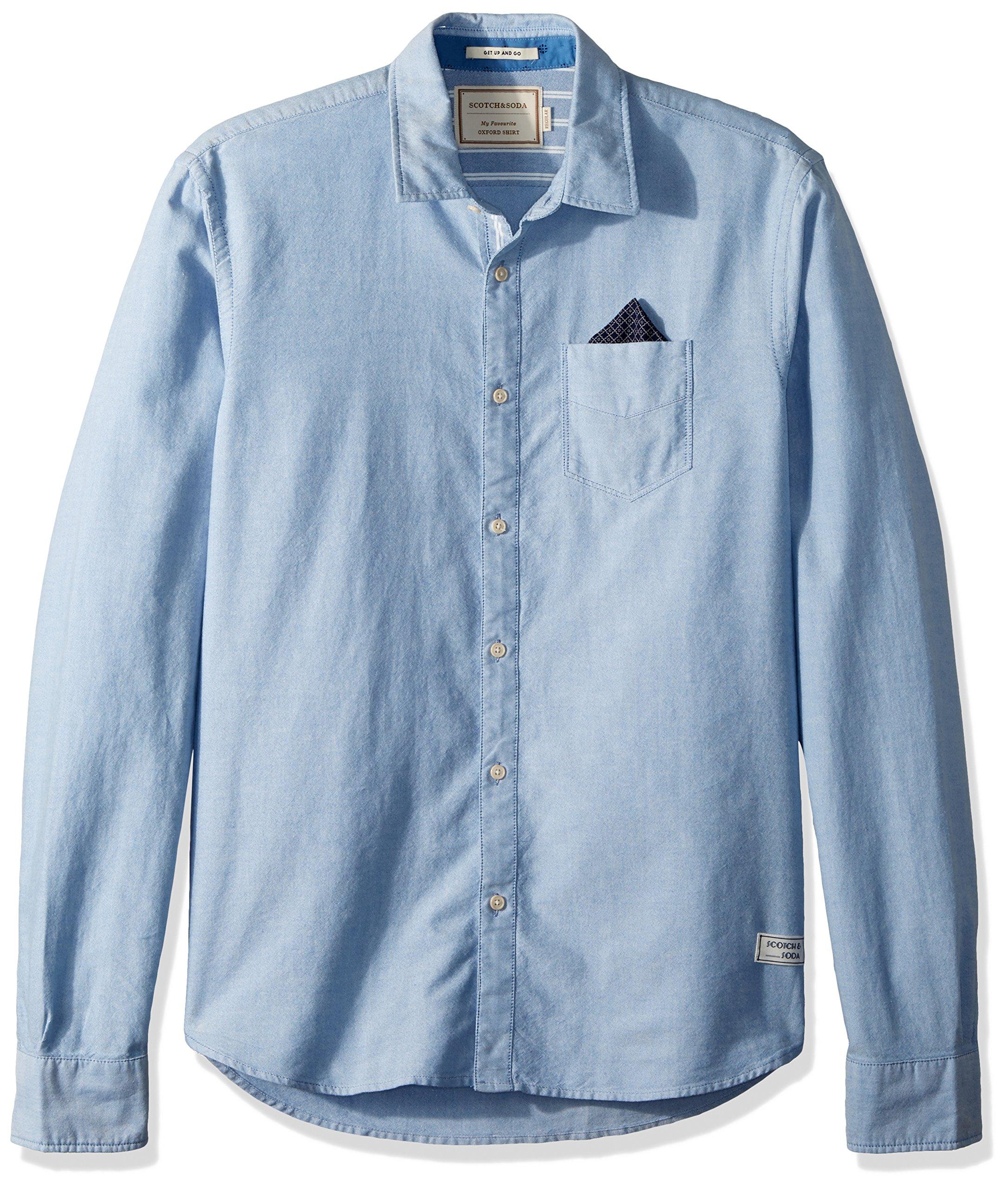 Scotch & Soda Men's Oxford Shirt With Chestpocket and Detachable Pochet, Blue, L