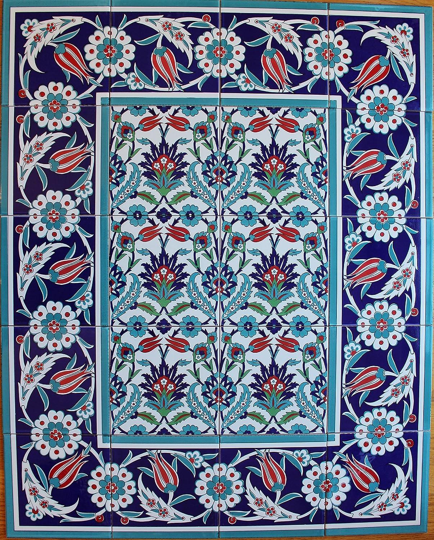 "Blue 24/""x24/"" Turkish Iznik Floral Pattern Raised Mural Ceramic Tile Panel"