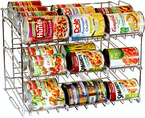 DecoBros Supreme Stackable Can Rack Organizer, Chrome Finish best pantry organization systems
