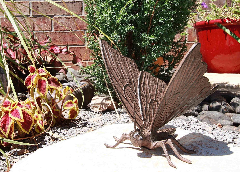 "Gifts & Decors 7"" Long Metamorphosis Flitting Butterfly Bronzed Decorative Garden Statue"