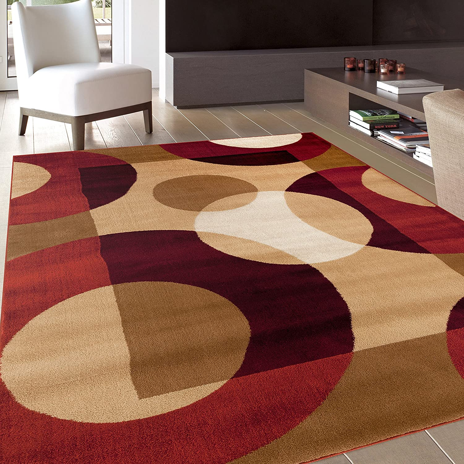 "Rugshop Modern Circles Area Rug, 5' 3"" x 7' 3"", Multicolor"