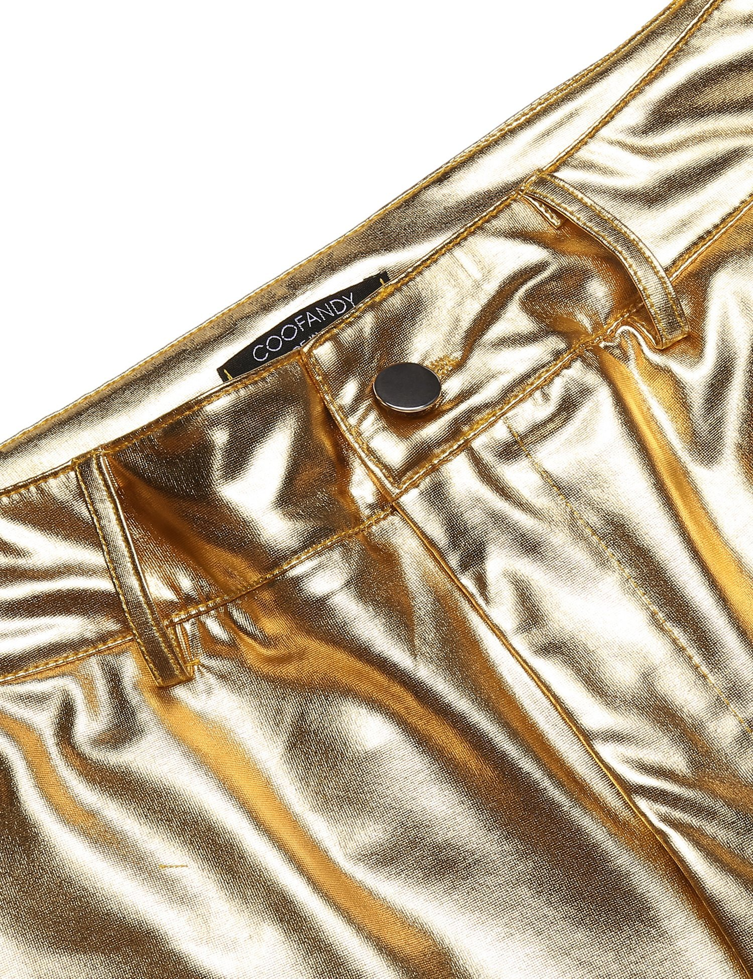COOFANDY Mens Metallic Shiny Jeans Party Dance Disco Nightclub Pants Straight Leg Trousers