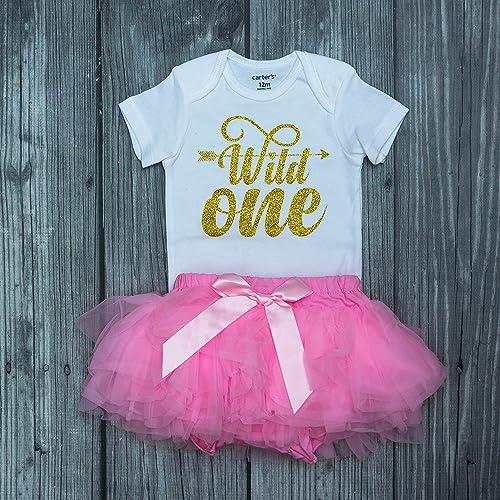 2d0ccffb55 Wild one birthday outfit - birthday bodysuit - crown headband - wild one  bodysuit - girl birthday set - pink and gold birthday outfit - gold and pink  bday ...