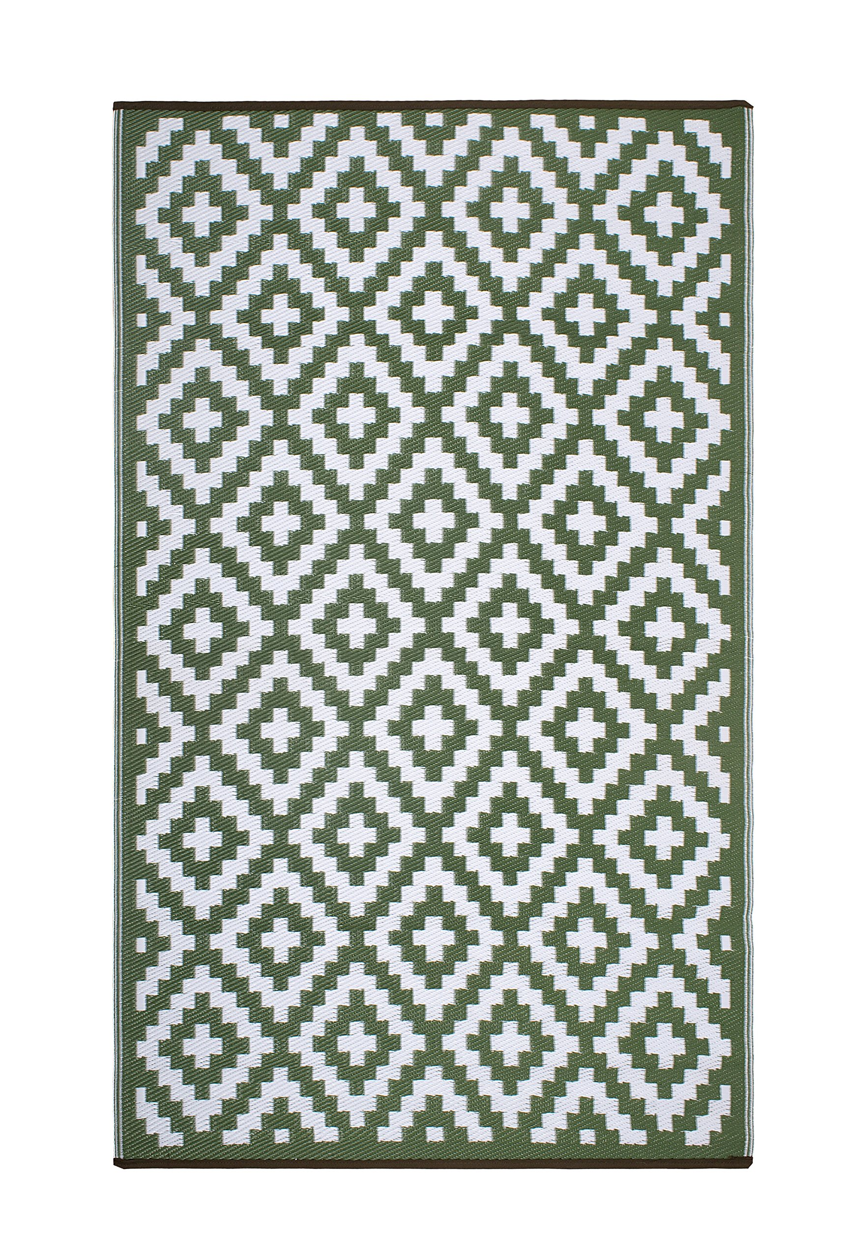 FH Home Indoor/Outdoor Recycled Plastic Floor Mat/Rug - Reversible - Weather & UV Resistant - Aztec - Leaf Green/White (3' x 5')