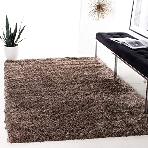 Safavieh Paris Shag Collection SG511-9292 Sable Polyester Area Rug 4 x 6