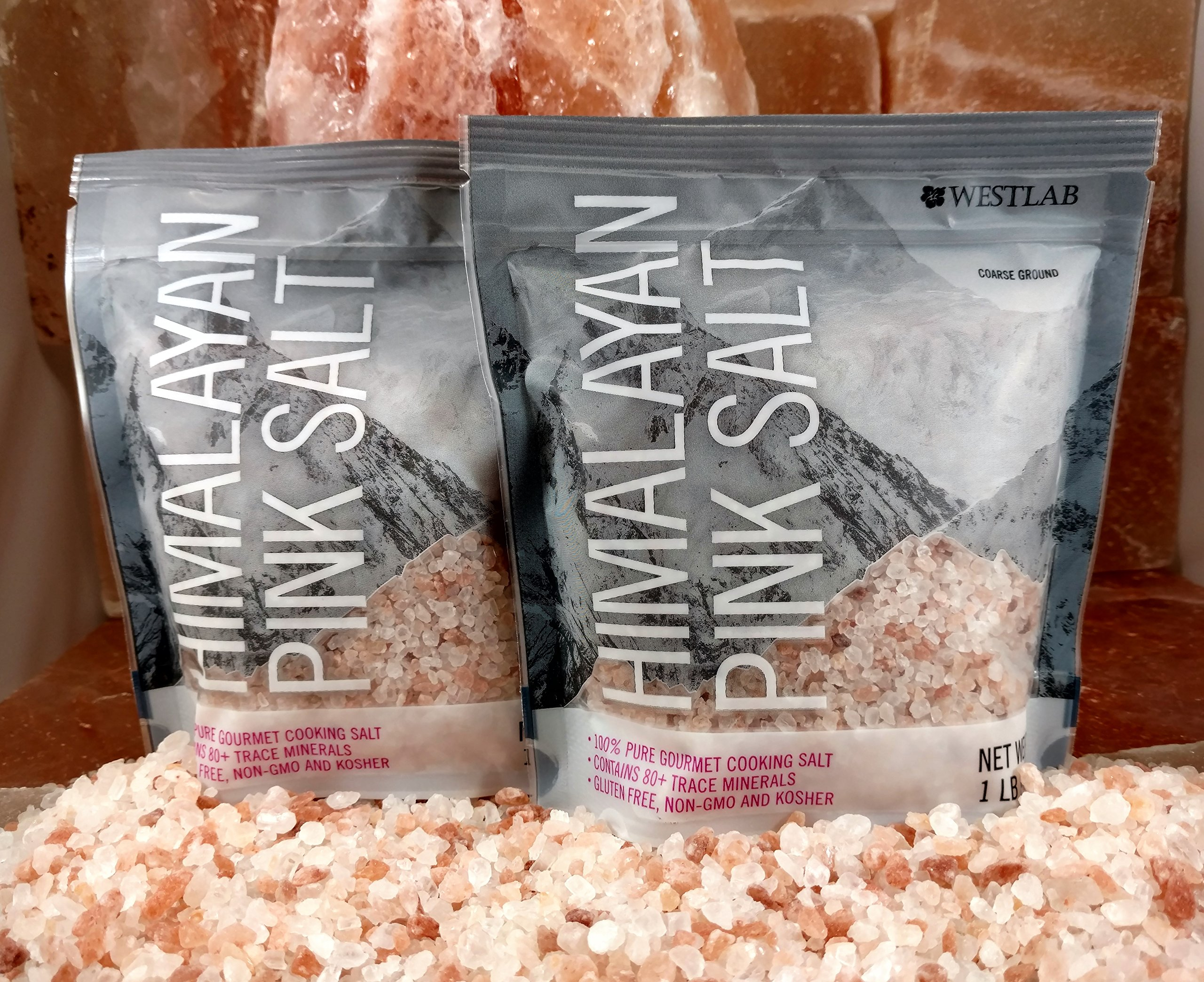 2 lbs Westlab Himalayan Pink Salt - 2x1lb pouches Coarse, Perfect Refill for Grinders