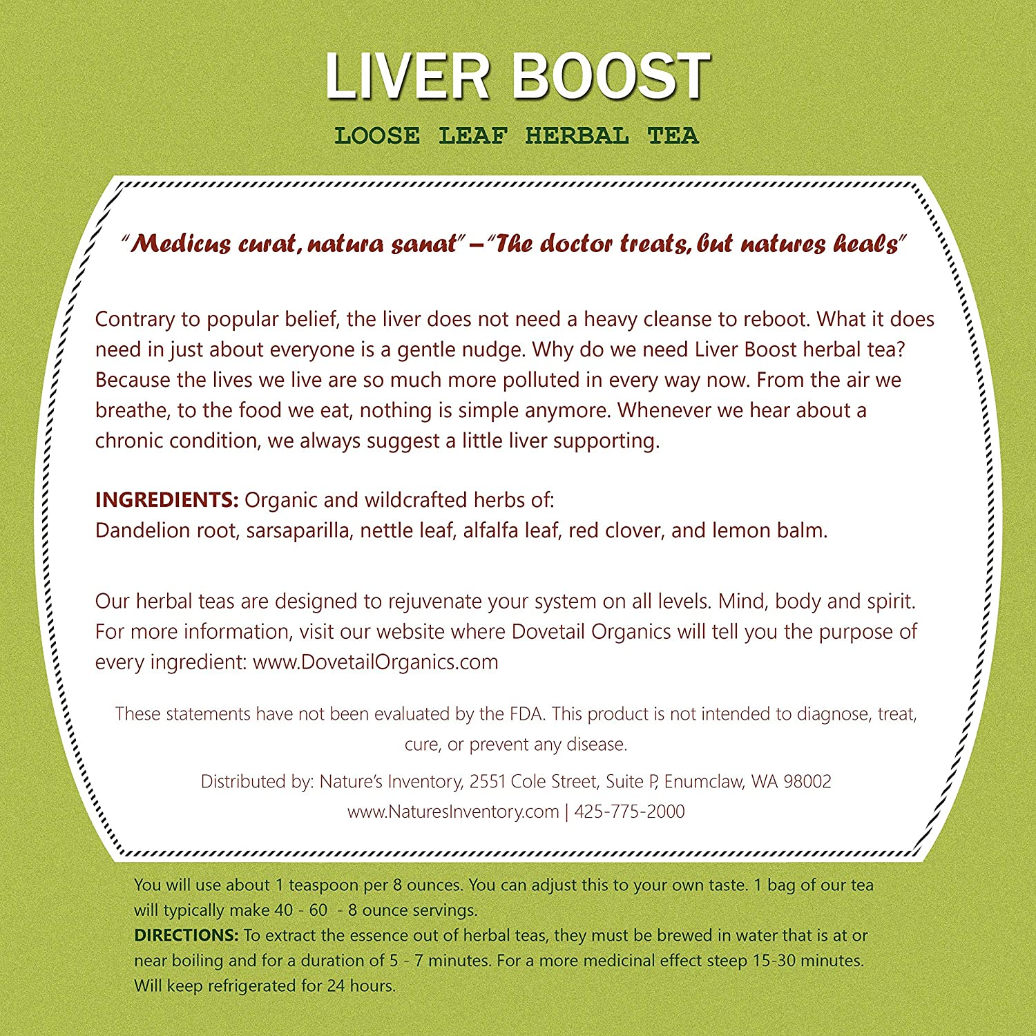Amazon Natures Inventory Liver Boost Loose Leaf Herbal Tea
