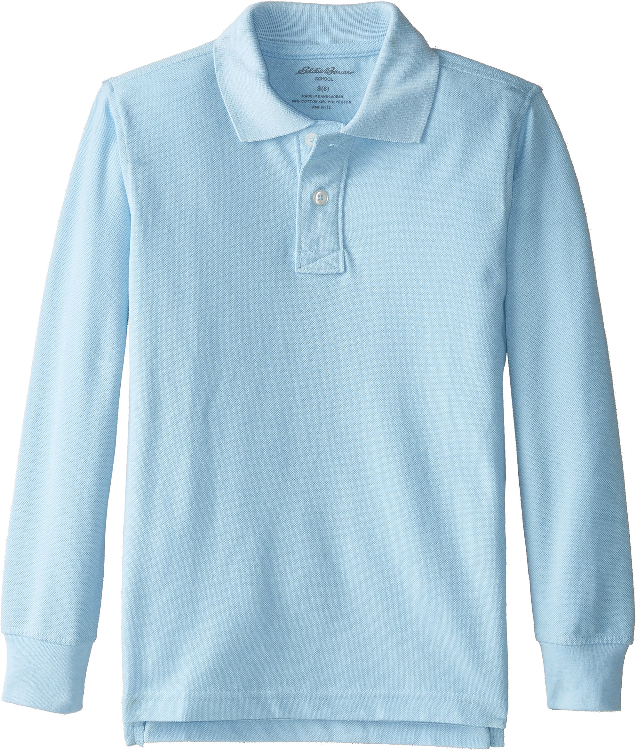 Eddie Bauer Boys' Short Long Sleeve Polo Shirt (More Styles Available), Long Sleeve Light Blue, 8