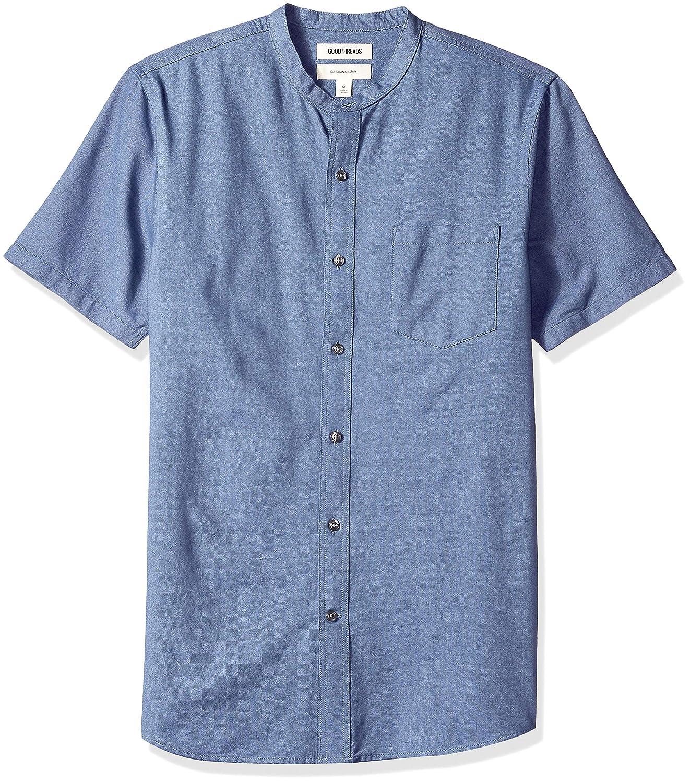 Goodthreads Mens Slim-Fit Short-Sleeve Band-Collar Oxford Shirt Brand