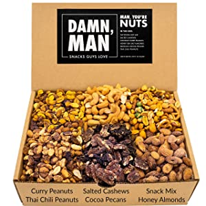 Assorted Nuts Gift Basket - Includes Six Unique Flavors Made From Cashews, Almonds, Pecans, Peanuts – Great Gift Basket – Freshly Made in Small Batches – 24oz