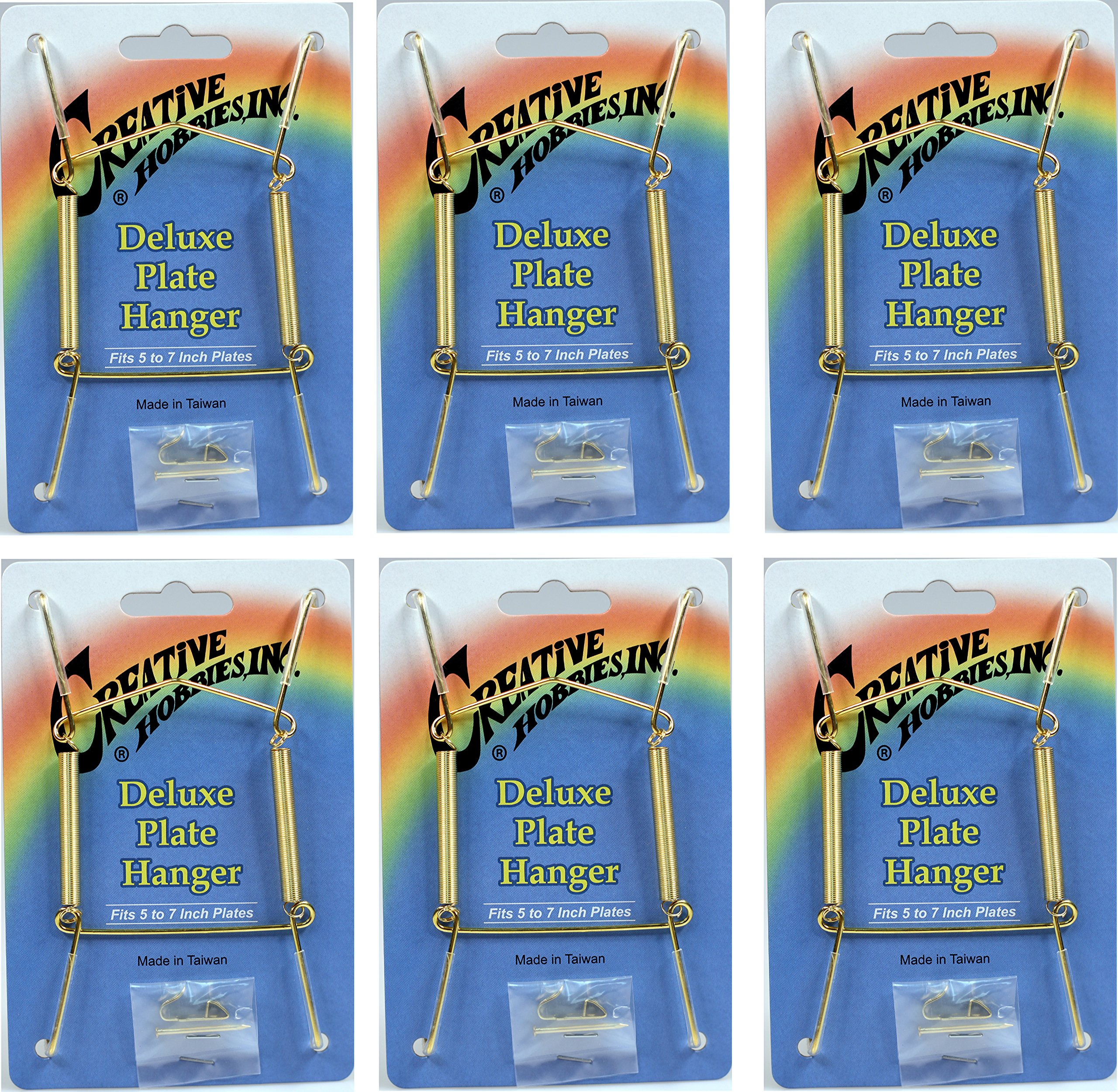 Creative Hobbies Deluxe Plate Display Hangers, Spring Style- Assembled & Ready to Use -Hold 5 to 7 Inch Plates- Gold Wire Spring Type, Hanger Hooks & Nails Included -Pack of 6 Hangers by Creative Hobbies