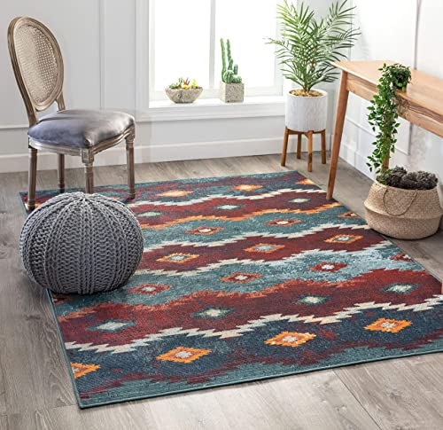 Well Woven Gabriel Blue Tribal Stripes Pattern Area Rug 7×9 6 7 x 9 2