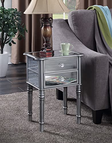Convenience Concepts Gold Coast Mayfair End Table, Antique Silver Mirror