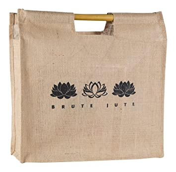 Brute Jute Eco Friendly Bamboo Handle Grocery Tote Bag Lotus