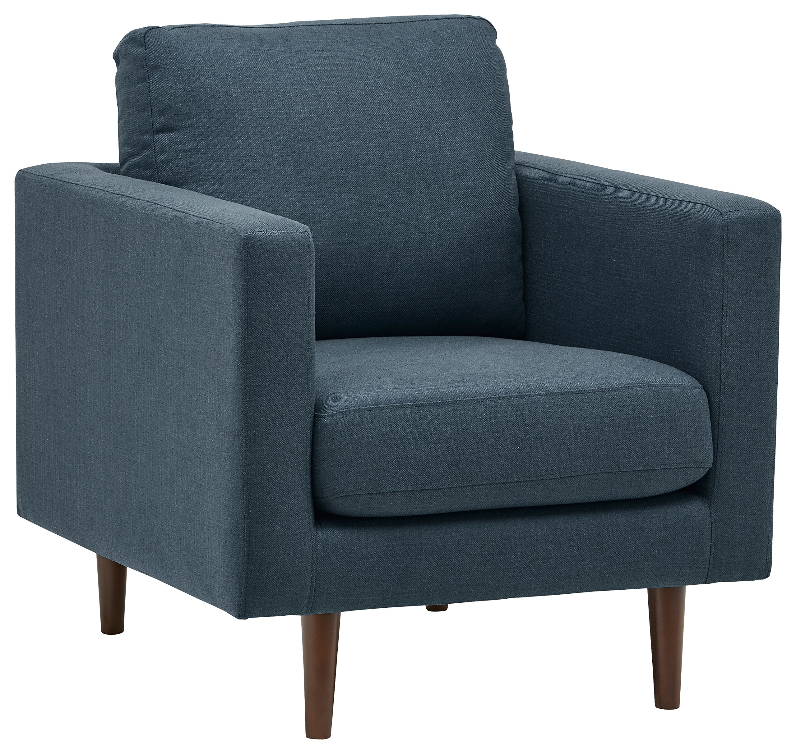 "Rivet Revolve Mid-Century Modern Accent Arm Chair, 32.7""W, Denim - This chair has enough contemporary yet classic elements to blend in with your existing style. Clean lines, comfortable seating and durable fabric give this piece functionality as well as smart design. 34.6""D x 32.7""W x 35.4""H Hardwood frame with solid beech wood legs - living-room-furniture, living-room, accent-chairs - A12vHbfzKHL -"