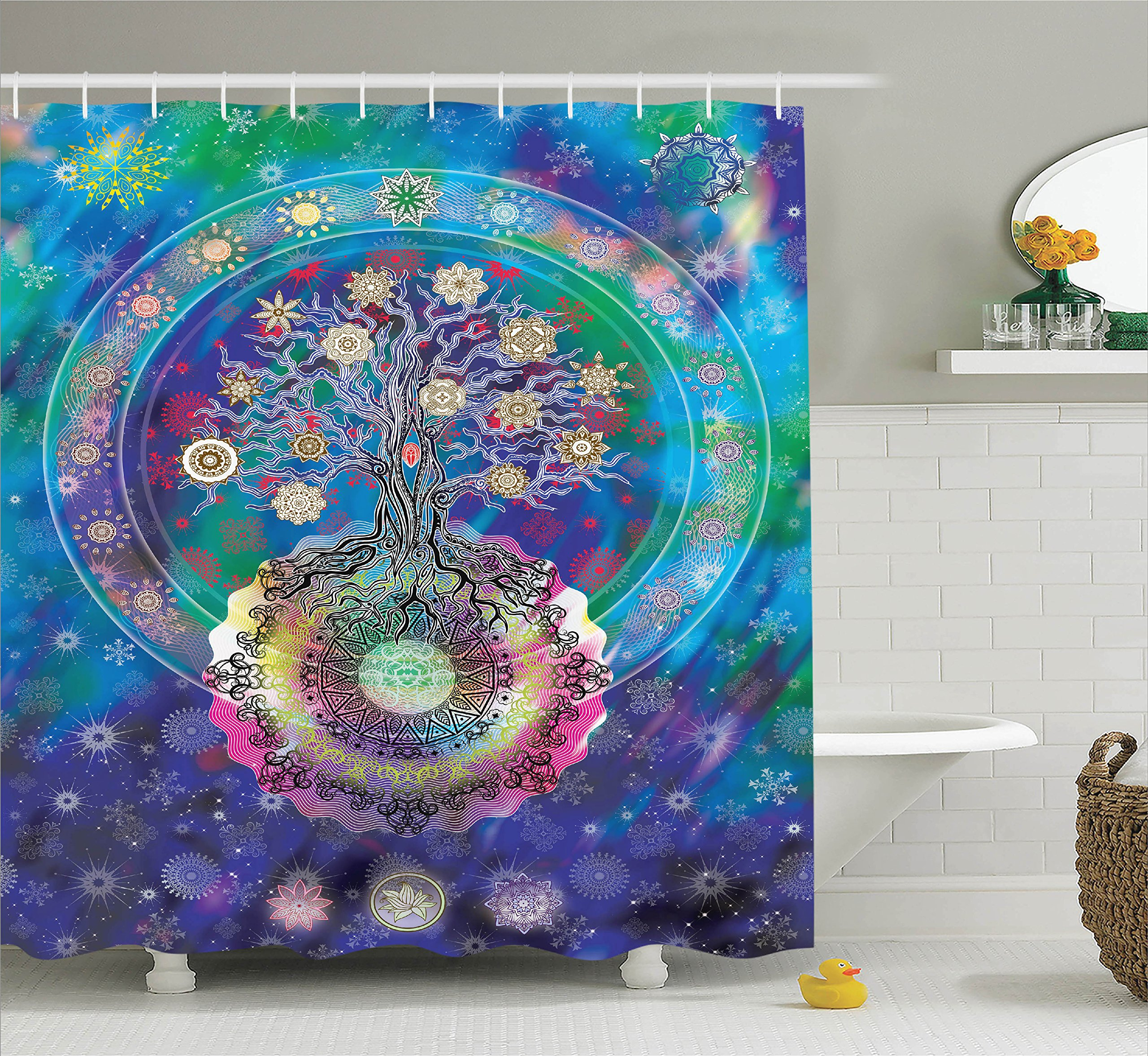 Ambesonne Home Decor Collection, Tree of Life with Floral Style Mandala Spiritual Artwork Meditation Peace Spa Design Decor, Polyester Fabric Bathroom Shower Curtain Set with Hooks, Blue Purple