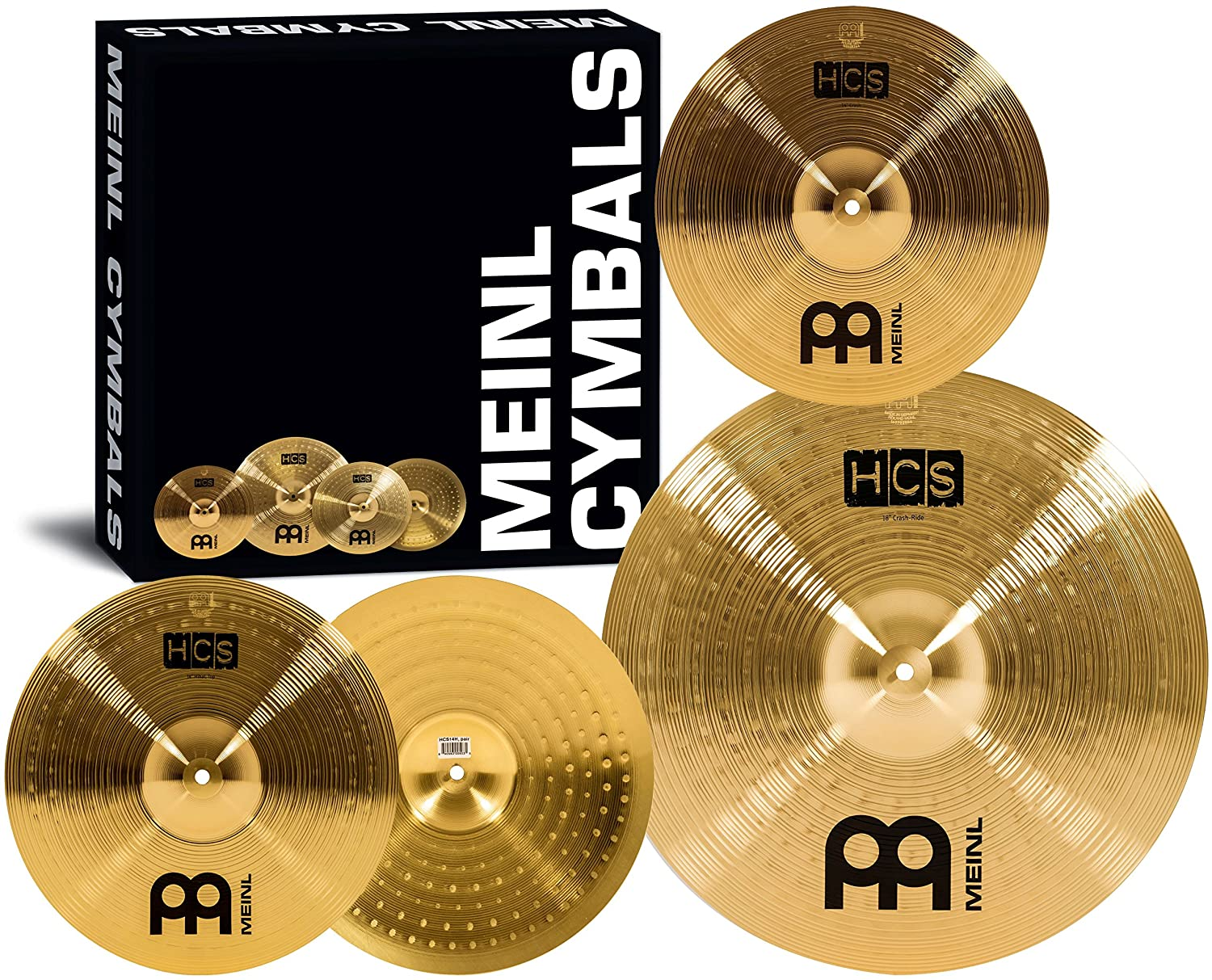 """Meinl Cymbal Set Box Pack with 14"""" Hihats, 18"""" Crash/Ride, Plus a FREE 14"""" Crash – HCS Traditional Finish Brass – Made In Germany, TWO-YEAR WARRANTY (HCS1418+14C) 18"""" Crash/Ride Meinl USA L.C."""