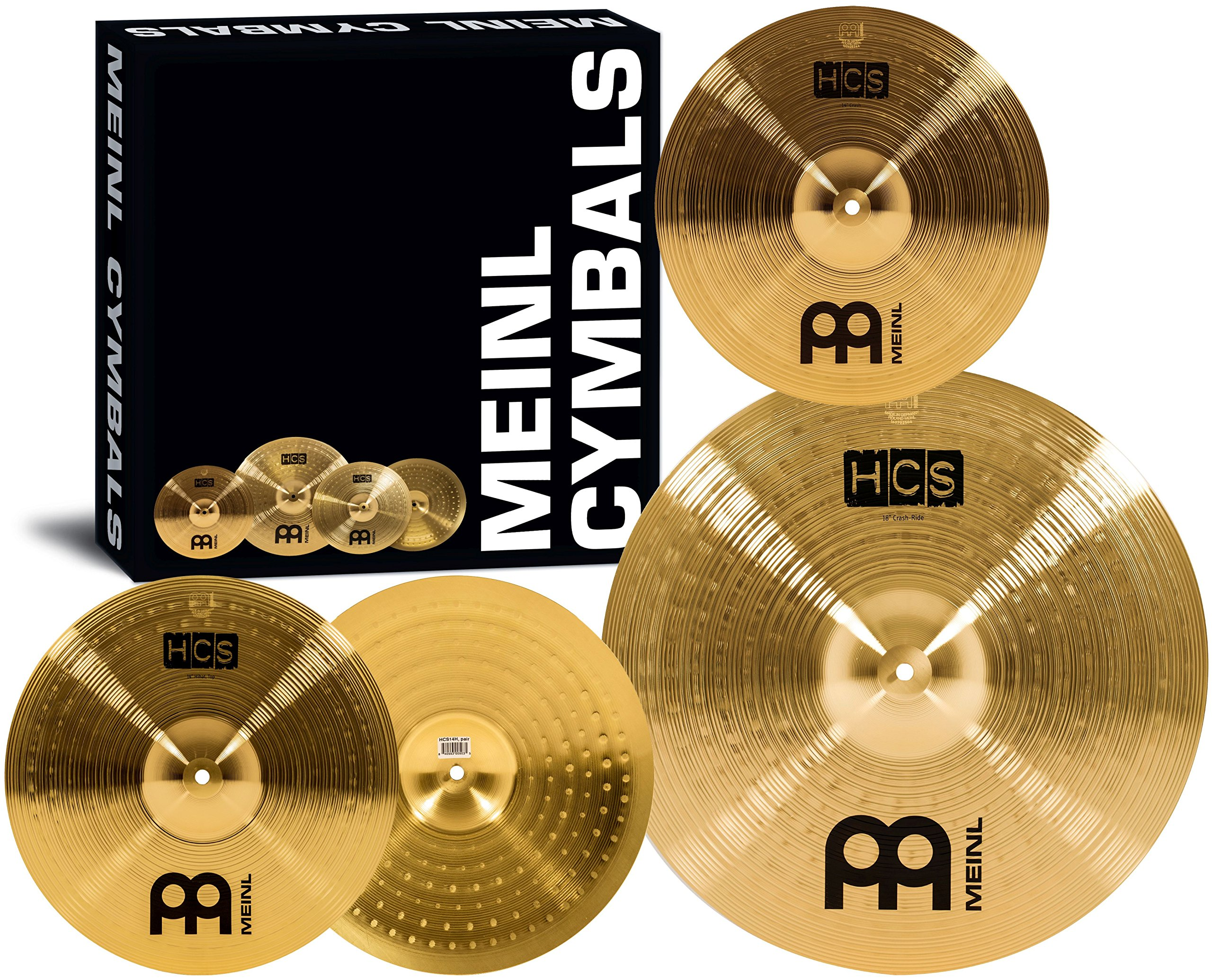 Meinl Cymbal Set Box Pack with 14'' Hihats, 18'' Crash/Ride, Plus a FREE 14'' Crash - HCS Traditional Finish Brass - Made In Germany, TWO-YEAR WARRANTY (HCS1418+14C) by Meinl Cymbals