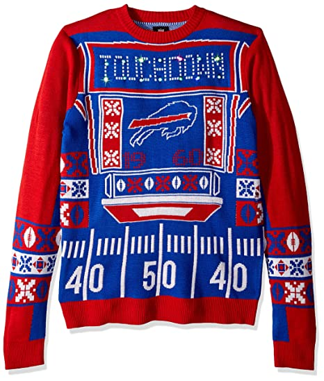 3ef65588050 FOCO NFL Buffalo Bills Mens Ugly Light Up Crew Neck Sweaterugly Light Up  Crew Neck Sweater