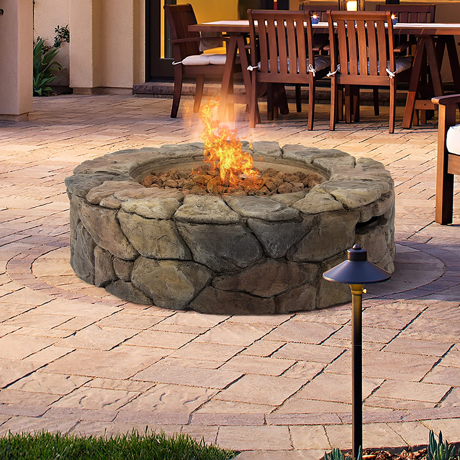 Round Stone Patio Fire Pit, Gas