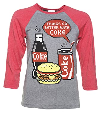 eeae086dfcc0c1 Coca Cola Pixels Heather Grey and Red Raglan Baseball T Shirt   Amazon.co.uk  Clothing