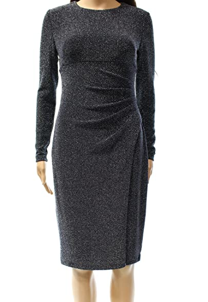 Lauren Ralph Lauren Navy Womens Metallic Sheath Dress Blue 16