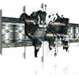murando Bilder 200x100 cm - Leinwandbilder - Fertig Aufgespannt - Vlies Leinwand - 5 Teilig - Wandbilder XXL - Kunstdrucke - Wandbild - Weltkarte k-A-0022-b-o