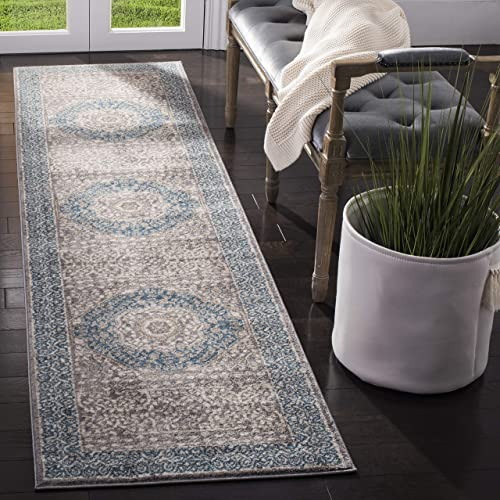 Safavieh Sofia Collection SOF365A Vintage Light Grey and Blue Center Medallion Distressed Runner 2 2 x 14