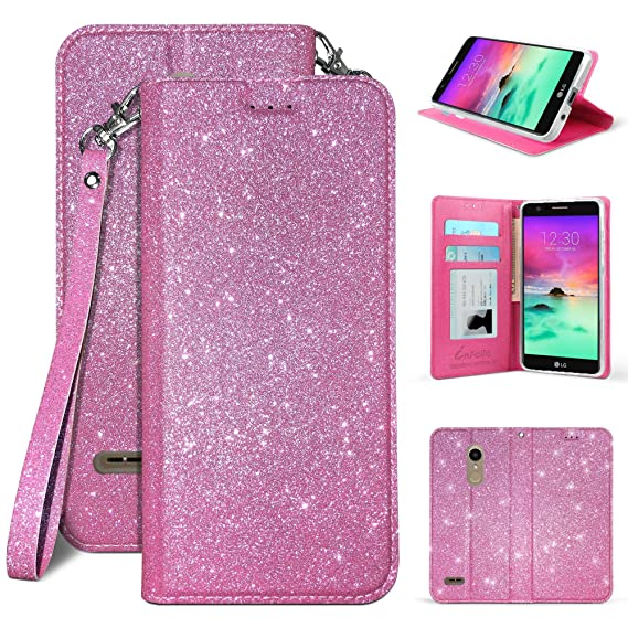 free shipping 4528d 4693f Amazon.com: LG K30 Case, Infolio Glitter Wallet Cover with Wrist ...