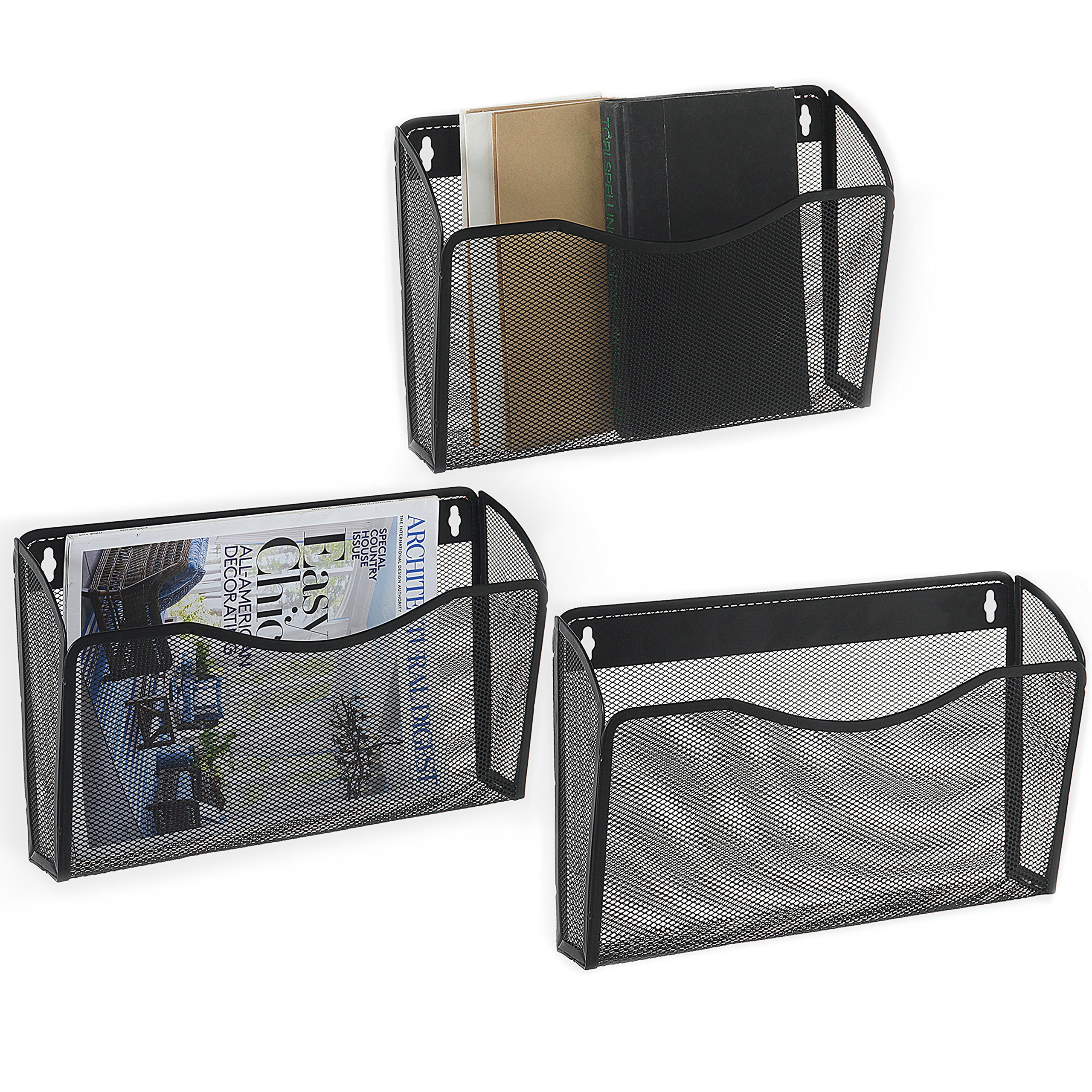 MyGift Pocket-Style Black Metal Mesh Wall-Mounted Document / Magazine Basket Racks, Set of 3