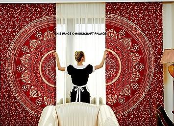 Nice Maroon Gold Beautiful Ombre Mandala Tapestry Curtains, Boho Curtains, Tapestry  Drapes, Mandala Wall