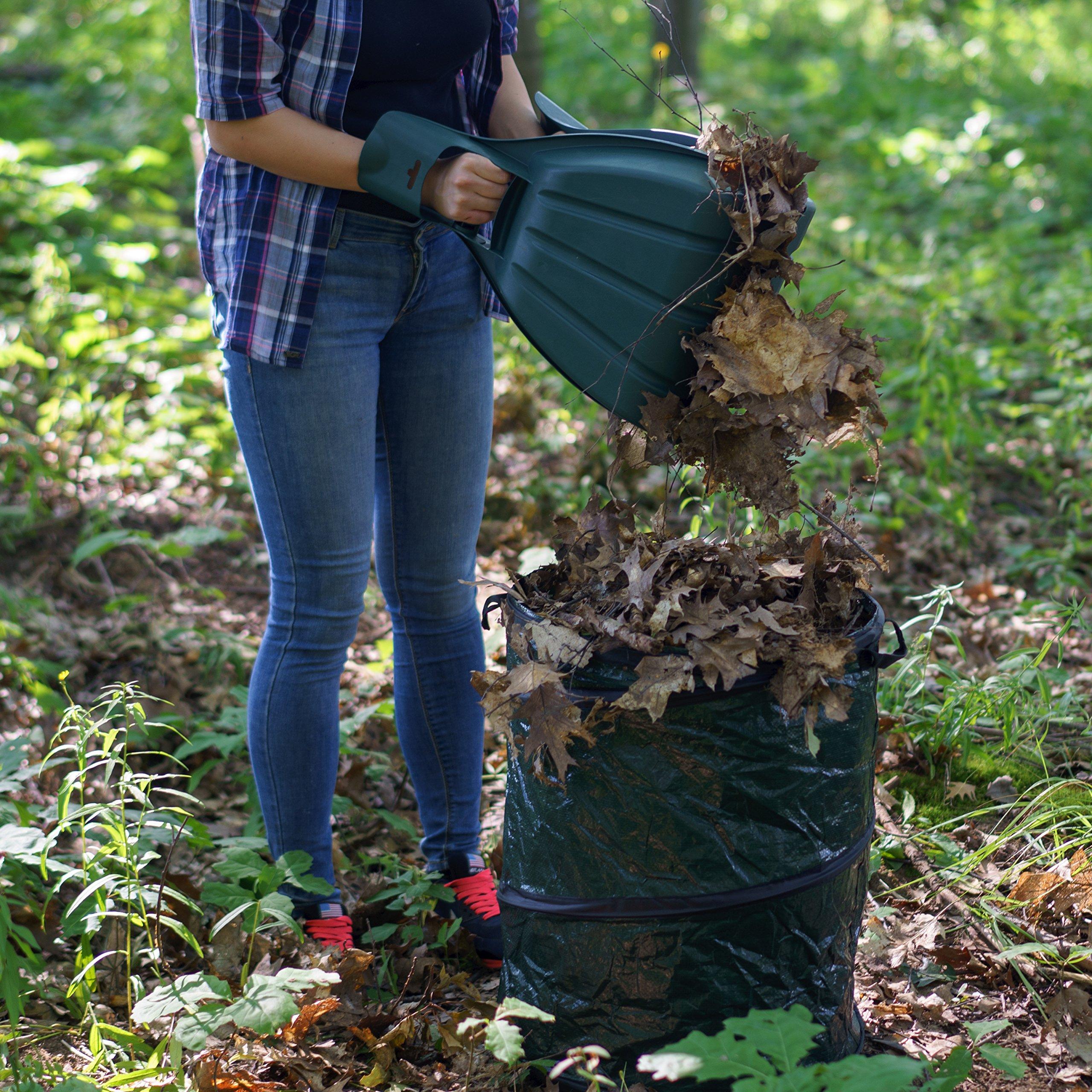 Kenley Leaf Scoops with Collapsible Yard Waste Garbage Bag Composting Bin – Leaf Hand Rakes for Leaves Grass Debris - Grabber Picker Tool for Garden or Lawn with Pop Up Composting Garbage Bag by Kenley (Image #3)