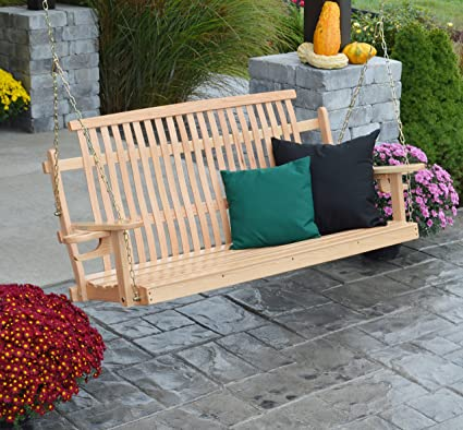 Incredible Amazon Com Aspen Tree Interiors Wood Porch Swing Amish Caraccident5 Cool Chair Designs And Ideas Caraccident5Info