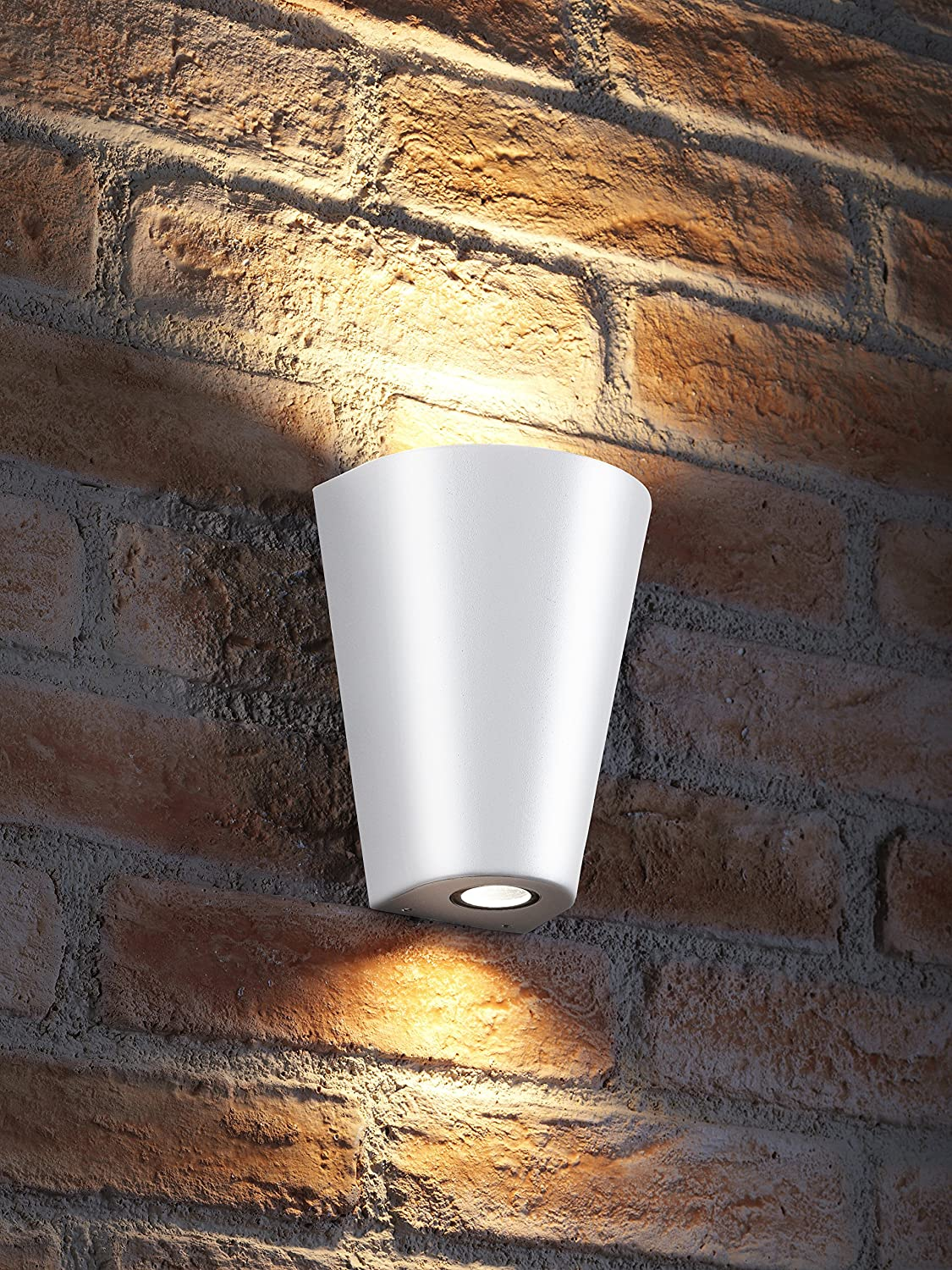 Auraglow Indoor/Outdoor Double Wall Up & Down Light - White - Warm White LED Bulbs Included