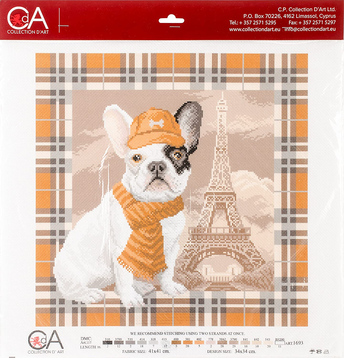 Collection D'Art Stamped Cross Stitch Kit 41X41cm-French Bulldog In Paris RTO