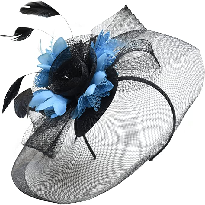 Blue and Black fascinator with clip Ascot Races weddings