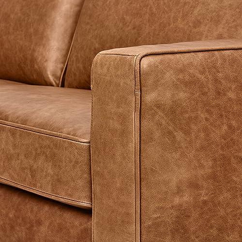 Rivet Andrews Contemporary Top-Grain Leather Sofa, 82 W, Cognac