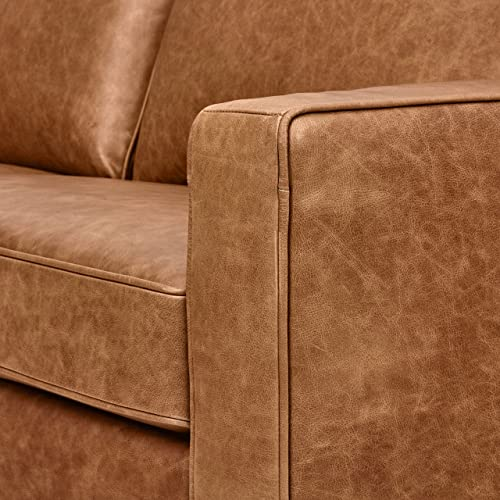 Rivet Andrews Contemporary Top-Grain Leather Sofa, 82 W, Cognac